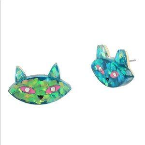 Betsey Johnson Granny Crystal Cat Stud Earrings